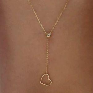 Gold Heart Lariat Pendant Necklace